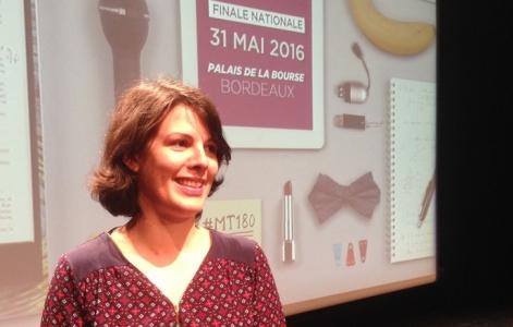 Pauline Maisonnasse lors de la finale de MT180 Université Paris-Saclay